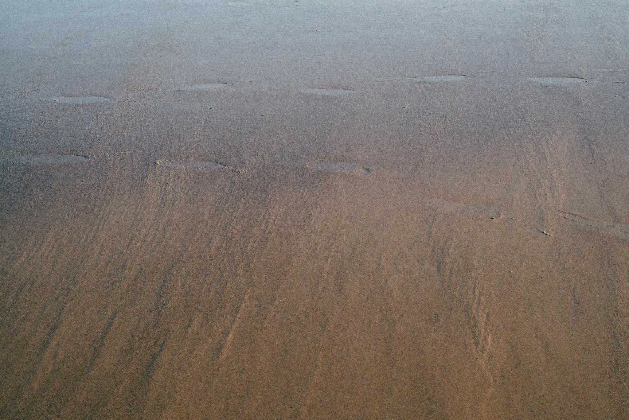 Footsteps in the sand beach cadzand netherlands